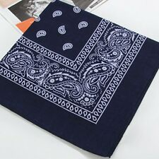 Paisley Bandana Head wrap Cotton Head Wrap Neck Scarf Handkerchief navy Blue