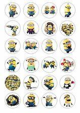 24 Minions Wafer / Rice Cupcake Topper Edible Fairy Cake Bun Toppers