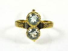 Victorian 14k Gold Sterling Silver Natural 1ctw Double Blue Topaz Ring I055BT