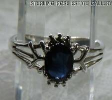 SAPPHIRE Hand Crafted Sterling Silver 925 SOLITAIRE COCKTAIL RING size 7.5