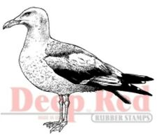 Deep Red Rubber Stamp Seagull Ocean Nautical