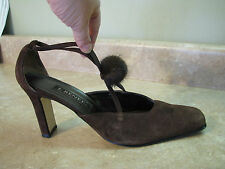 J RENEE Brown Suede HIGH HEEL SHOES Fur Pom-Pom Trim CROSSDRESSER sz 12 M