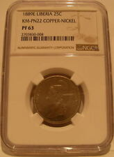 Liberia 1889 E Copper - Nickel 25 Cents NGC PF-63 Pattern