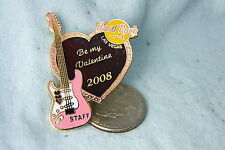 HARD ROCK HOTEL PIN LAS VEGAS 2008  BE MY VALENTINE STAFF HEART & PINK GUITAR