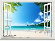 White Beach Palm Tree Peninsula 3D Window View Wall Decals Stickers Decor Mural