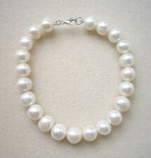 Genuine Cream Freshwater Pearl Bracelet - Silver Clasp - 7.5""