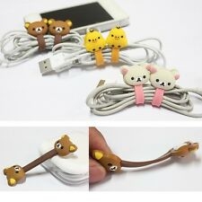 2Pcs Cute Cartoon Earphone Headphone Wrap Cord Cable Holder Winder Organizer Z1H