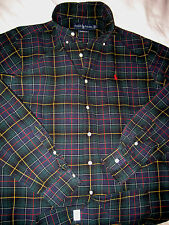 RALPH LAUREN CLASSIC WINTER COTTON TARTAN PLAID EMBROIDERED PONY SHIRT-NICE- L