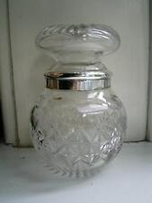 Hand cut Antique glass pickel preserve jar HM silver rim London 1915