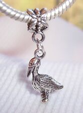 Pelican Bird Beach Shore Animal Dangle Bead for Silver European Charm Bracelets