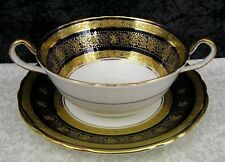 Aynsley Solitaire 8108 Cobalt & Gold Gilt Bone China Cream Soup Bowl - 9 Avail.