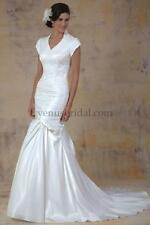 Wedding Gown, Modest, Venus, TB7602, White, Sz 10, Trumpet Skirt, QueenAnne Neck