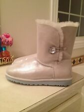 NWOB UGG Australia Bailey Button Bling White Boots Womens 9