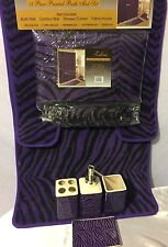 19 Pc Animal Bath Rug Set Purple-Black Zebra Print Bathroom Shower Curtain/rings