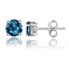 Sterling Silver 2ct London Blue Topaz Round Studs Earrings