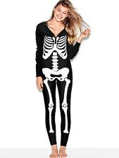 Victorias Secret PINK Skeleton Long Jane Onesie S Thermal Pajama One-Piece