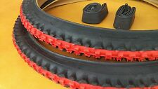 Two 2) Duro 26x2.10 *Red Center* Black Mountain Bicycle Tires & Bike Inner Tubes