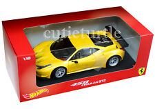 Hot Wheels Ferrari 458 Italia GT2 1:18 Diecast Model Car Yellow BCJ78
