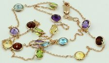 Multi-color Gemstones 20 Inches Necklace 14k Rose Gold Chain with Lobster Lock