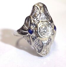 Sweet Antique Art Deco 18K White Gold Diamond and French Cut Sapphire Bow Ring