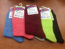 6 Women/Girl cotton mixed plain colour socks pink white blue burgundy pink green
