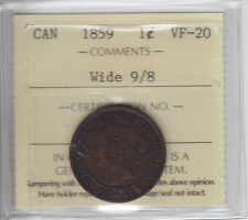 1859 Canada Large Cent - Wide 9/8 - ICCS VF-20 - XRW904