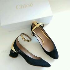 NEW Chloe Heaven Black/Gold Suede Ankle Strap Pumps Low Block Heel 6.5 $650