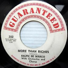 RALPH DE MARCO with group POP doowop 45 MORE THAN RICHES b/w OLD SHEP JR300