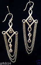 SILPADA STERLING SILVER CLEOPATRA CHAIN LINK & CUBIC ZIRCONIA EARRINGS W2367