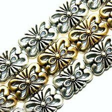 Metal Slider Beads Floral Design Double Hole 2 Hole Bead Gold Color 12 Pcs SB8