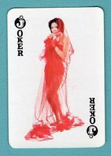 1 Single Swap Playing Card JOKER #G16 SEXY GIRL PINUP LADY IN RED WIDE VINTAGE