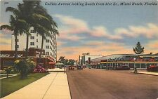 Linen Postcard; Collins Ave looking South from 21st St. Miami Beach FL Unposted
