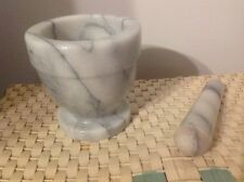 """SOLID MARBLE MORTAR AND PESTLE 4"""" high very heavy unused"""
