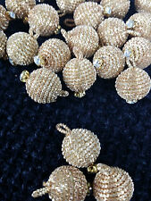 Golden fancy round diamante buttons for crafting designing x4 bridal party suit