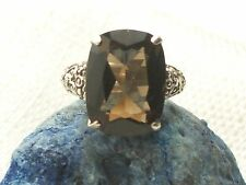 Estate Sterling Silver CNA Signed Smokey Topaz Filigree Ring