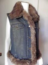 Newport News Jeans Blue Jean Vest Faux Fur Trim Biker Chick Size LARGE