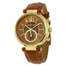 Michael Kors MK2424 Sawyer Amber Sunray Dial Amber Brown Leather Watch