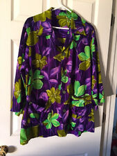 Vintage Hawaiian Smock Top Ladies Home Sewn No Size Possible Large L Bright!