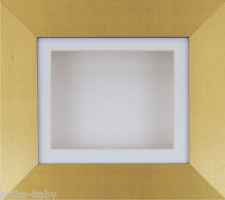 Brushed Gold effect Box Display Frame Object Crafts 3D Art Ornaments WHITE Mount