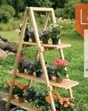 Scaffale porta vasi a 3 ripiani in legno naturale
