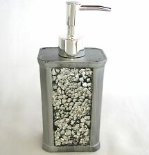 NEW SILVER GREY,GRAY GLASS MIRROR MOSAIC+RESIN SOAP+LOTION DISPENSER