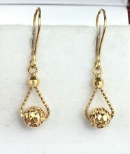 18k Solid Yellow Gold Cute SmallDangle Leverback Earrings, Diamond Cut 1.30Grams