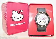 NEW SANRIO HELLO KITTY BLACK SILICONE BAND+SILVER DIAL+PINK HEART WATCH-HWL1346