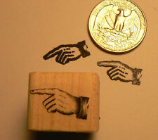Pointing finger, hand miniature rubber stamp