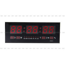 LED Horloge Murale Digital Rectangle de couleur Rouge grand bureau CA100-240v FR