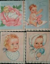 10 VTG assorted NEW BABY CONGRATULATIONS greeting cards BOY GIRL embossed W BOX