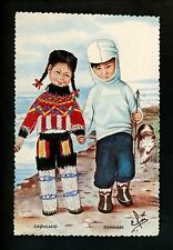 Embroidered clothing postcard Artist Elsi Gumier, Denmark, Greenland children