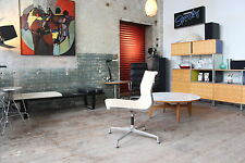 HERMAN MILLER EAMES ALUMINUM GROUP SIDE CHAIR WHEAT COLORED LEATHER