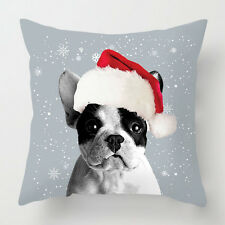 Christmas French Bulldog picture decor cushion / pillow
