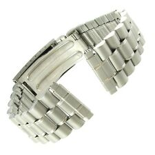 16-20mm Milano Stainless Steel Matte Silver Tone Deployment Buckle Watch Band